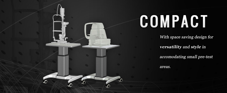 Our compact tables hold multiple medical instruments.